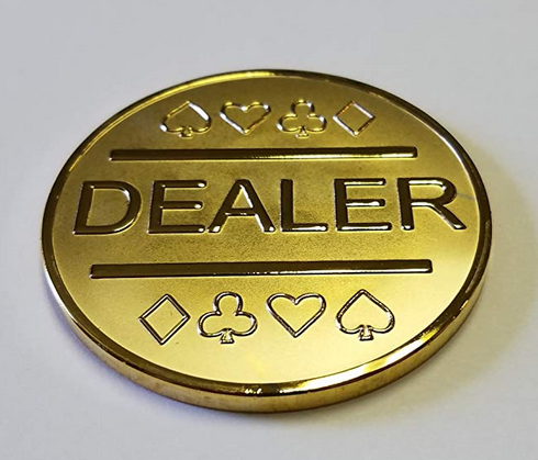 Gold Plated Metal Dealer Button