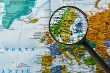 map of Sweden through magnifying glass